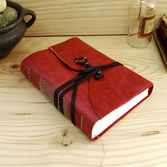 Red Leather Journal with Old Key