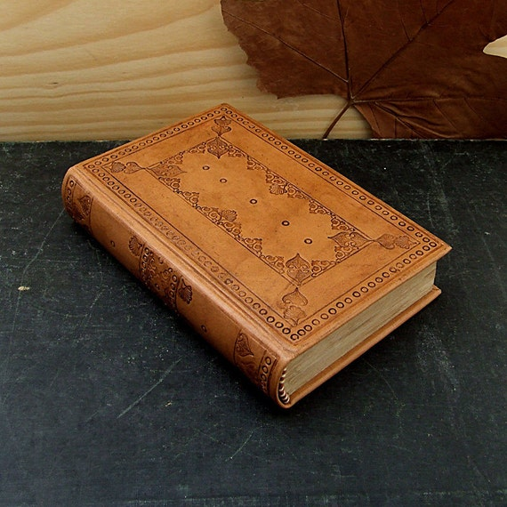 RESERVED. Leather Bound Book, Natural Brown Leather, Tooled Decoration