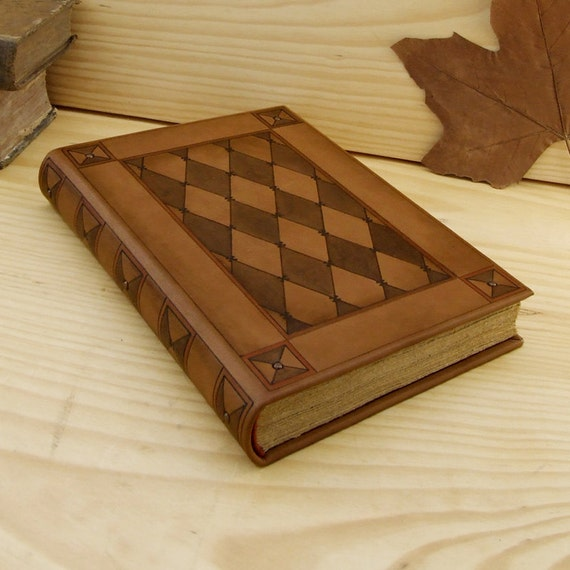 Large Leather Journals. Light Brown Leather with Tooled Decoration