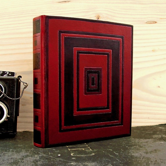 Red Leather Journal / Blank Book, Painted Decoration - The Whirling Squares