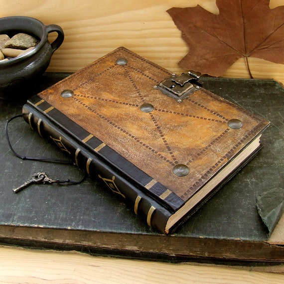 """Leather Journal / Blank Book with Lock and Key, Brown Antiqued Leather - """"The Brown Book"""""""