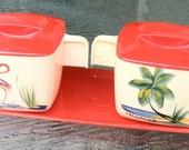 VINTAGE Plastic Florida Flamingo Cream & Sugar Set 1950's Mid Century