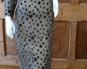 Unique Handmade Silk Velvet Brown Taupe Geometric Print 1960s 70s Sheer Maxi Dress