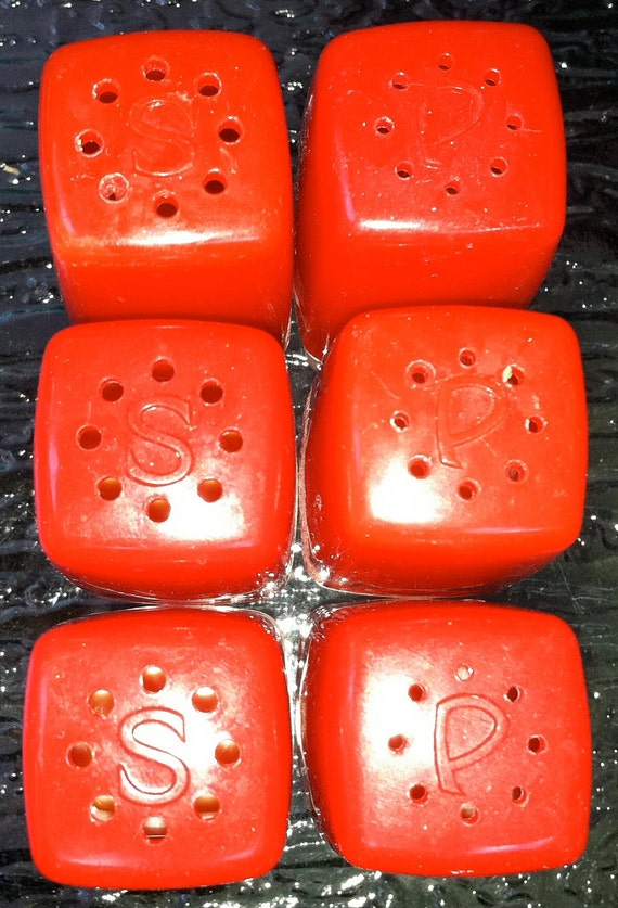 SALE :)  COLLECTION of 3 Pairs of Vintage Red Plastic MINIATURE Salt and Pepper Shakers was 9.99 now 7.29