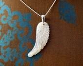 Carved Mother of Pearl Pendant - Angel Wing - Handmade - Paris Bohemian