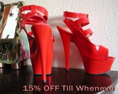 Shoes Platforms Gladiator Style Bright Red Size 6 On Sale Now 15% OFF
