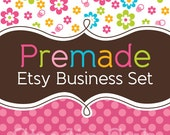Premade Etsy Shop Set - Etsy Shop Banner, Avatar,  Business Card and More - Colorful Flowers and Pink Polka Dots