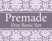 Premade Etsy Banner and Avatar Shop Set - Purple Damask Pattern