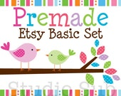 Premade Etsy Banner and Avatar Shop Set - Birds on a Branch