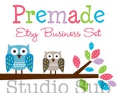Premade Etsy Shop Set - Etsy Shop Banner, Avatar,  Business Card and More - Owls on a Branch