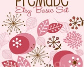 Premade Etsy Banner and Avatar Shop Set - Retro Pink Flowers and Leaves
