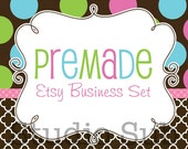 Premade Etsy Shop Set - Etsy Banner, Avatar, Business Card, Return Address Label and More - Pink Green Blue Dots