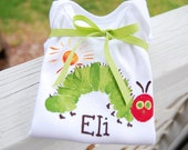personalized LONG sleeved onesie matches The Very Hungry Caterpillar for boy or girl