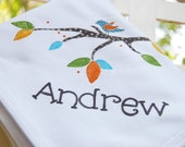 personalized baby blanket with bird on a branch, matches Little Tree nursery bedding