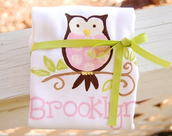 personalized bodysuit or tee with pink and brown owl, little hoot