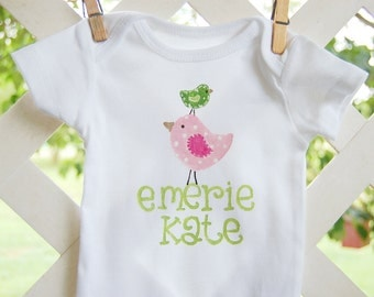 personalized tee or bodysuit with whimsical pink and green birds