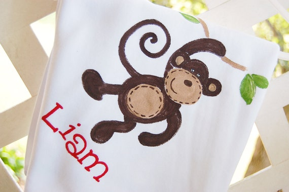 personalized baby blanket with monkey for boy or girl