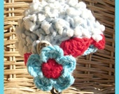Baby Beanie with Chin Strap and Flower / Baby Blue with Bubbles / Great Photo Prop / Last  week / Free Headband