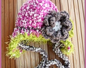 Earflap baby hat with flower and fuzzy trim /Fucshia , brown ,green