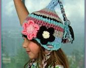 Kids Elf Hat, Crochet Elf Hat, Girls Elf Hat, Pixie Hat with Flowers, Winter HAt for Kids, Kids Boho Hat