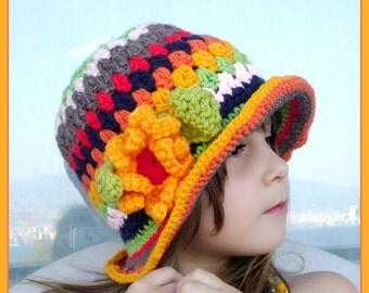 Kids Hat with Flower, Crochet Beanie, Boho Kids, Gift for Kids