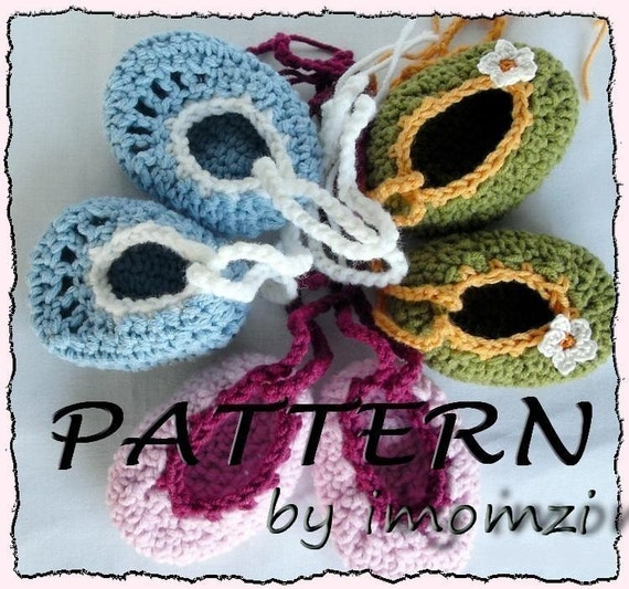 Tutorial Crochet Baby Ballet Booties : Items similar to Crochet Pattern Baby Ballet Shoes Pdf ...