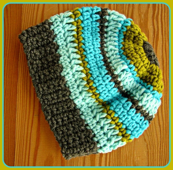 Children Slouch Hat  Crocheted Hat  Crochet Boy Hat in Aqua and Gray READY TO SHIP