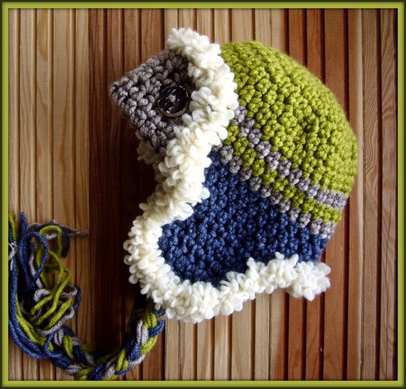 Baby Boy Hat Crochet Baby Hat Earflap Hat in Olive Green Beige and Navy Blue Photo Prop Hat