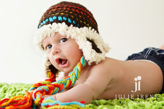 Baby Boy Hat Newborn Photo Prop Boy Brown with colofull Stripes READY TO SHIP
