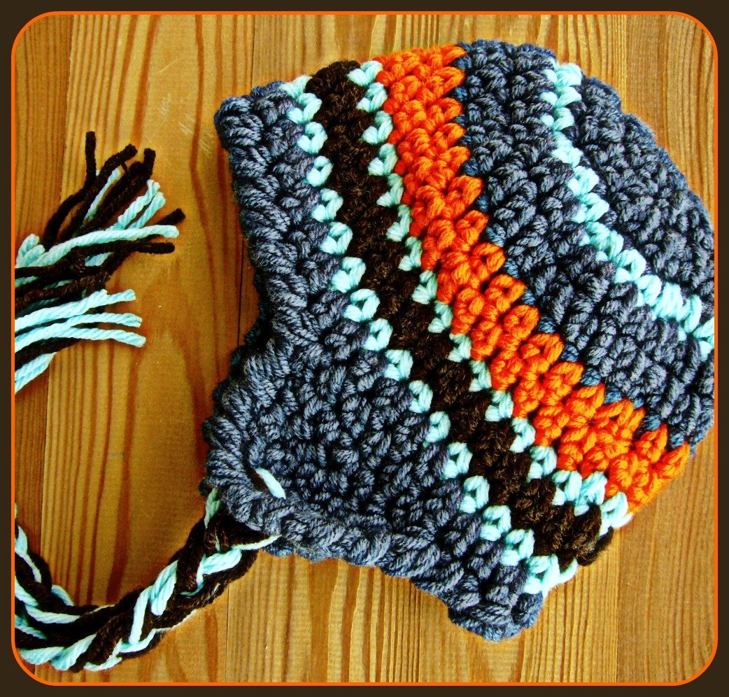 Baby Boy Crochet Hat With Stripes Orange Navy Aqua