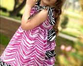 SUMMER SALE Boutique Marli Dress in Pink and Black Zebra