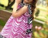 Boutique Marli Dress in Pink and Black Zebra
