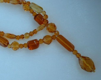 Vintage Amber Glass Bead Flapper Necklace with Drop