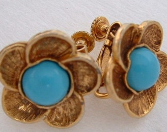 Vintage MMA Floral Earrings with Turquoise Centers - Metropolitan Museum of Art