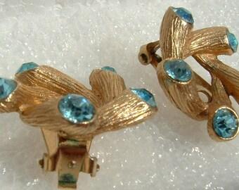 Vintage Ice Blue Rhinestone Earrings, Unique Mod Goldtone Spray Design, Fireworks