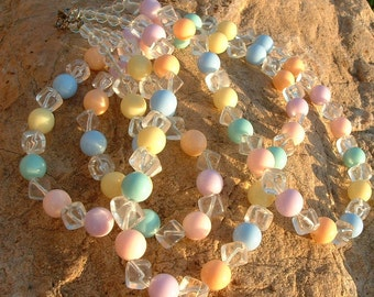Vintage Double Strand Lucite Necklace in Pastel Shades