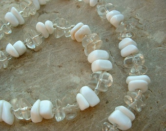 Clearance Sale! ... Vintage White and Clear Lucite Chip Necklace