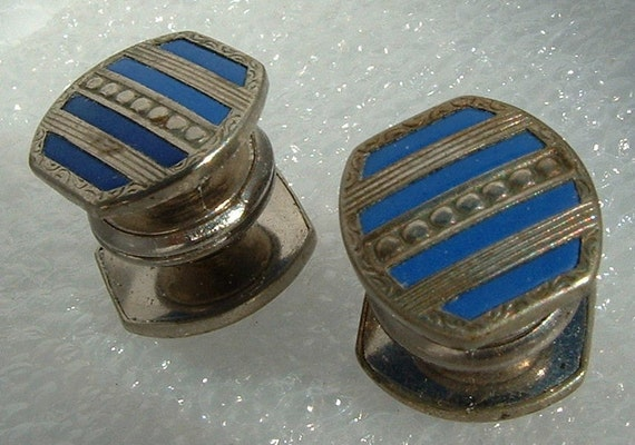 Vintage Men's Jewelry - Blue and Silver Enameled Kum-A-Part Cuff Links