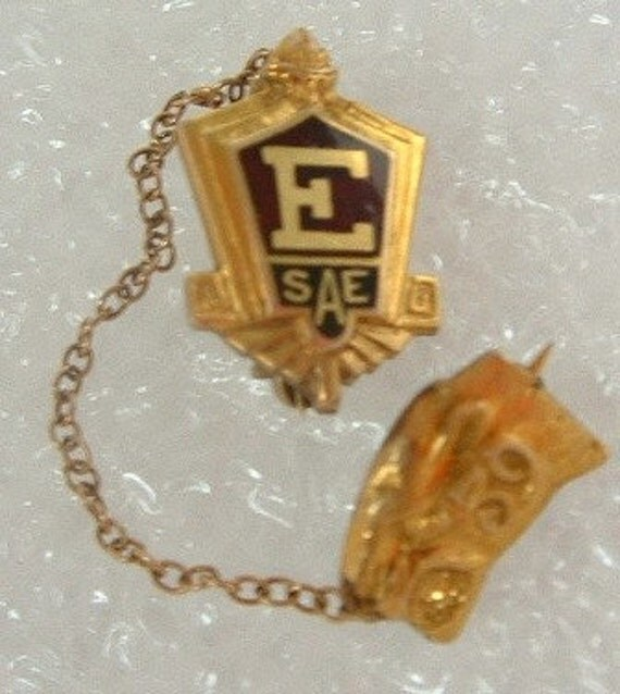 Vintage Enameled SAE School or Organization Lapel Pin with attached Panther Head Pin, Dated 1939