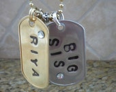 2 Personalized Dog Tags on Brass Ball Chain