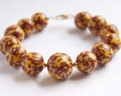 Red and Yellow Bead Bracelet. Flower Pattern. Large Clay Beads.