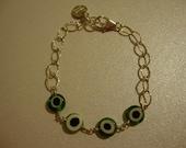 Green EVIL EYE BRACELET in Sterling Silver by Bella Star Jewelry
