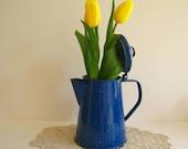 Vintage Cobalt Blue Speckled Graniteware Coffee Pot