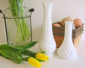 Reserved for Ruth   Vintage Quilted White Milk Glass Vases, Set of Two by RollingHillsVintage on Etsy
