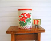 Chippy, Vintage Red and White Tin by Rolling Hills Vintage on Etsy