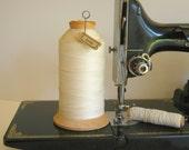 Thread Cone Wood Spool Ecru Antique Ephemera Keeper Memo Holder Sewing Supply