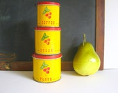 Toy Canister Set Mustard Yellow Tins Red Cherry Vintage Play Kitchen Rolling Hills Vintage