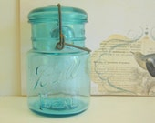 Ball Ideal Blue Jar Glass Lid Bail Wire July 14 1908 Antique RollingHillsVintage