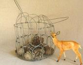 Egg Gathering Basket Wire Antique Primitive Farmhouse Style RollingHillsVintage