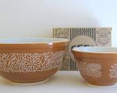 Pyrex Mixing Bowls / Woodland Pattern / Brown Bowls / Autumn Baking / Home Decor